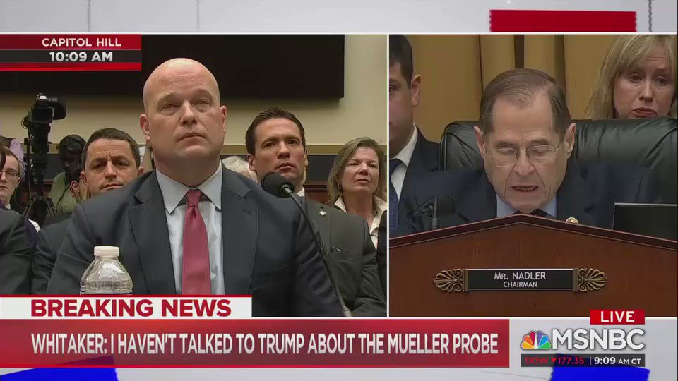 """Rep. Nadler to Matt Whitaker: """"In your capacity as acting AG, have you ever been asked to approve any request or action to be taken by the special counsel?""""  Whitaker: """"Mr. Chairman, I see that your 5 minutes is up...We have agreed to 5- minute rounds."""""""