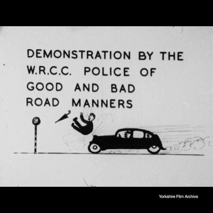 A comedic guide to road safety in Bradford city centre from 1947.  Film courtesy of @YorkshireFilm #BritainOnFilm