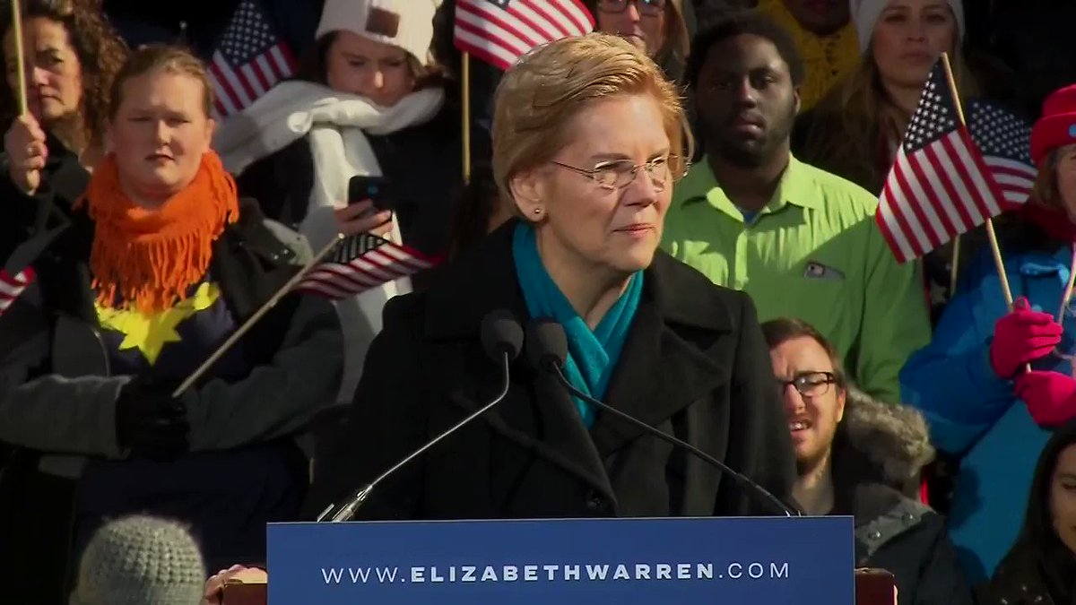"""""""Our fight is for big structural change. This is the fight of our lives, the fight to build an America where dreams are possible -- an America that works for everyone.""""  Sen. Elizabeth Warren officially jumps into crowded White House race #Warren2020 http://hill.cm/zEvJMn6"""