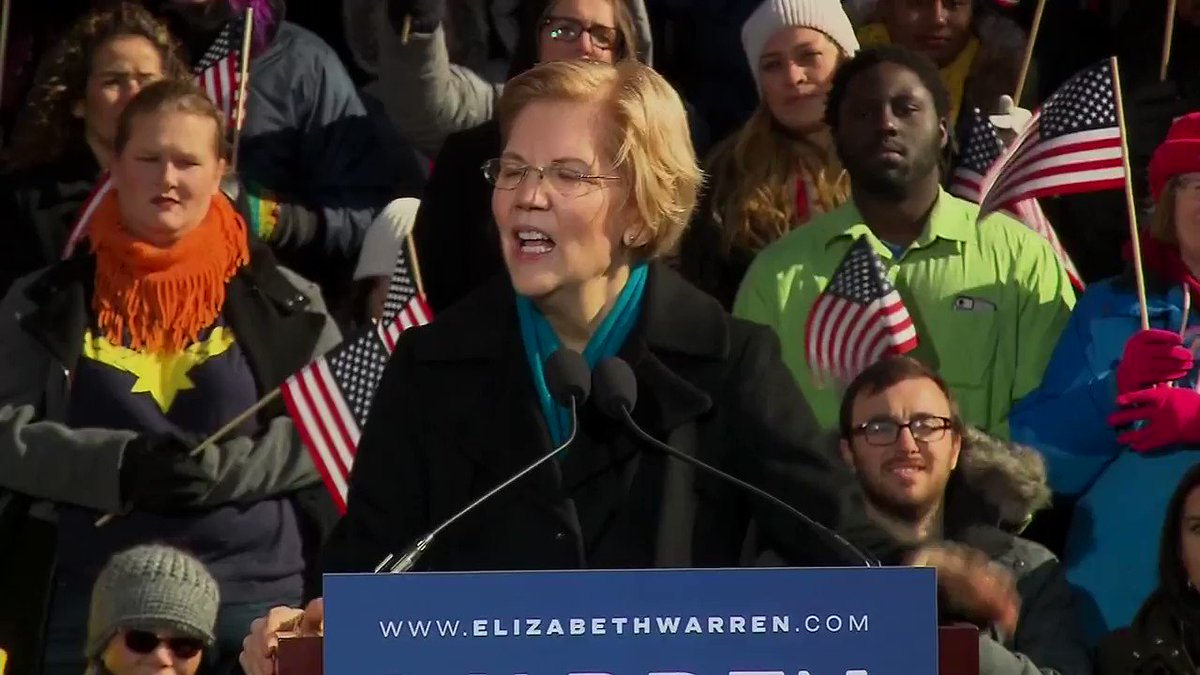 """""""When it comes to climate change, our very existence is at stake. But Washington refuses to lift a finger without permission from the fossil fuel companies.""""  Sen. Elizabeth Warren officially jumps into White House race #Warren2020 http://hill.cm/zEvJMn6"""