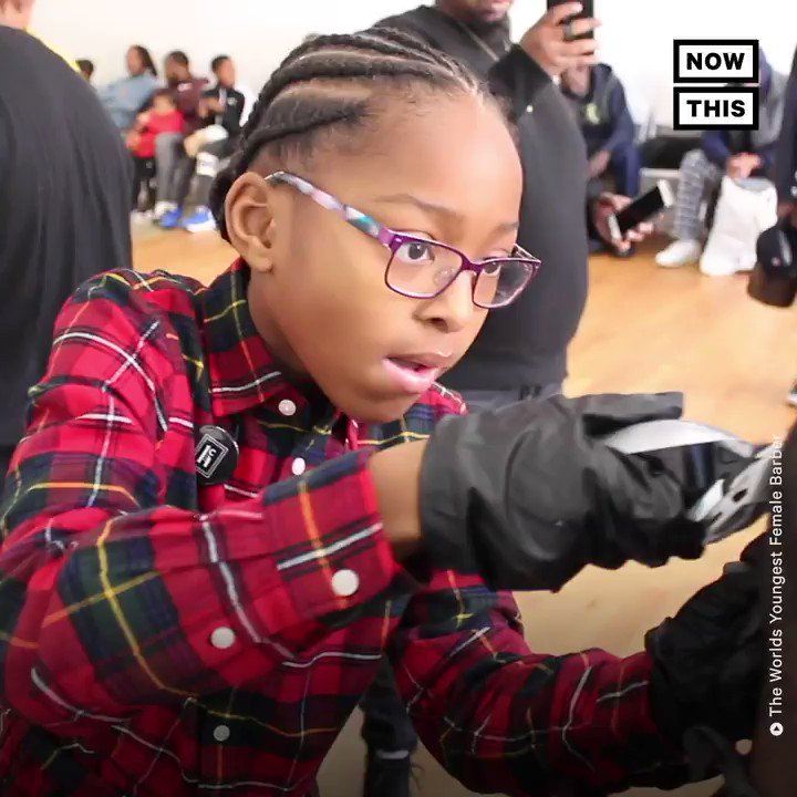 The world's youngest female barber gives free haircuts to people in need  💇🏾♀️