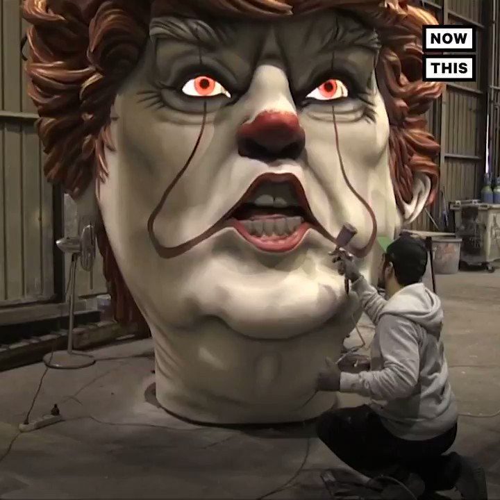 This giant sculpture of Trump in clown makeup is pure nightmare fuel
