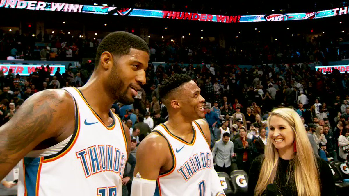 #PaulGeorge x #RussellWestbrook  All smiles postgame as the first teammates to record 20-point triple-doubles in the same game in @NBAHistory. #ThunderUp #PhantomCam