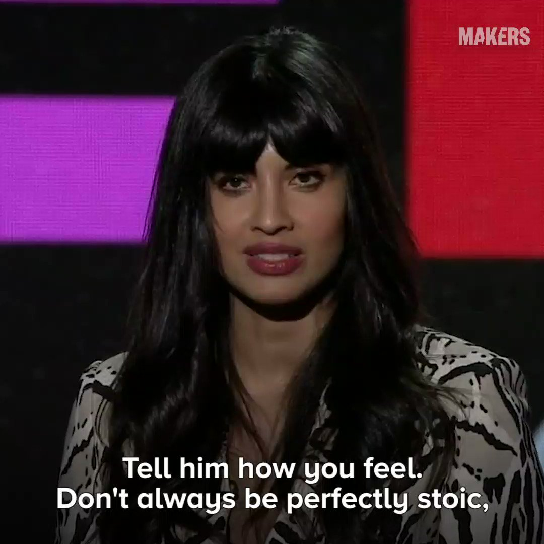 """Tell him how you feel. Don't always be perfectly stoic as we have been conditioned to pretend we are...."" - @jameelajamil's special message to mothers, sisters and aunties to help dismantle the toxic masculinity that indoctrinates men 💥 https://yhoo.it/2WYETAP  #MAKERSConference"