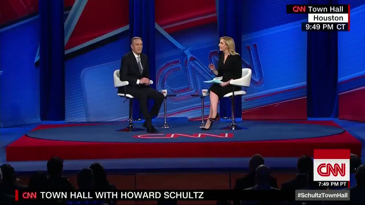 """Howard Schultz on the Starbucks racial profiling incident: """"I didn't see color as a young boy and I honestly don't see color now. … We need to do everything we can to restore the humanity of the country"""" and the president plays a large role #SchultzTownHall"""