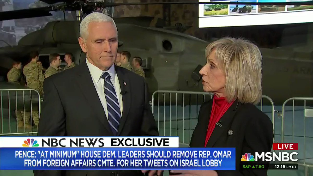 """Representative Omar's tweets were a disgrace. Anti-Semitism has no place in the United States Congress or anywhere in our country or the free world."" -@VP"