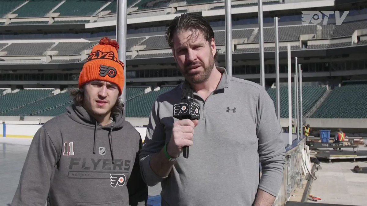 TK is fired up for his first outdoor game experience while @JVReemer21 is gearing up for his sixth! Bundy was at @LFFStadium to talk with the guys and check-in on the progress of the rink build. #StadiumSeries
