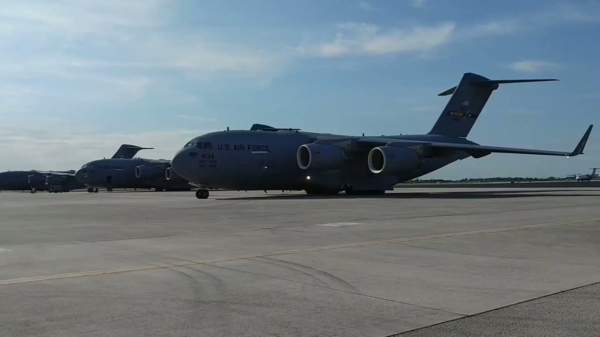 1st of 3 @USAirForce C-17s flying #humanitarian aid from Miami to Cúcuta, Colombia, takes off from @Homestead_ARB. @StateDept, @USAID & @deptofdefense, in a cooperative effort, is delivering aid to the people of #Venezuela. #EstamosUnidosVE @WHAAsstSecty @theOFDA @USAenEspanol