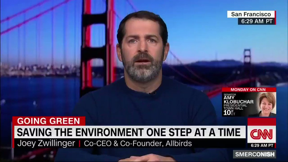"""""""We're facingdown the barrel of a gun withclimate change, and particularly young peopleare looking for businesses andgovernment to step up,"""" cofounder of Allbirds Joey Zwillinger tells CNN's @smerconish about the Green New Deal and climate change. https://cnn.it/2tmTU1V"""