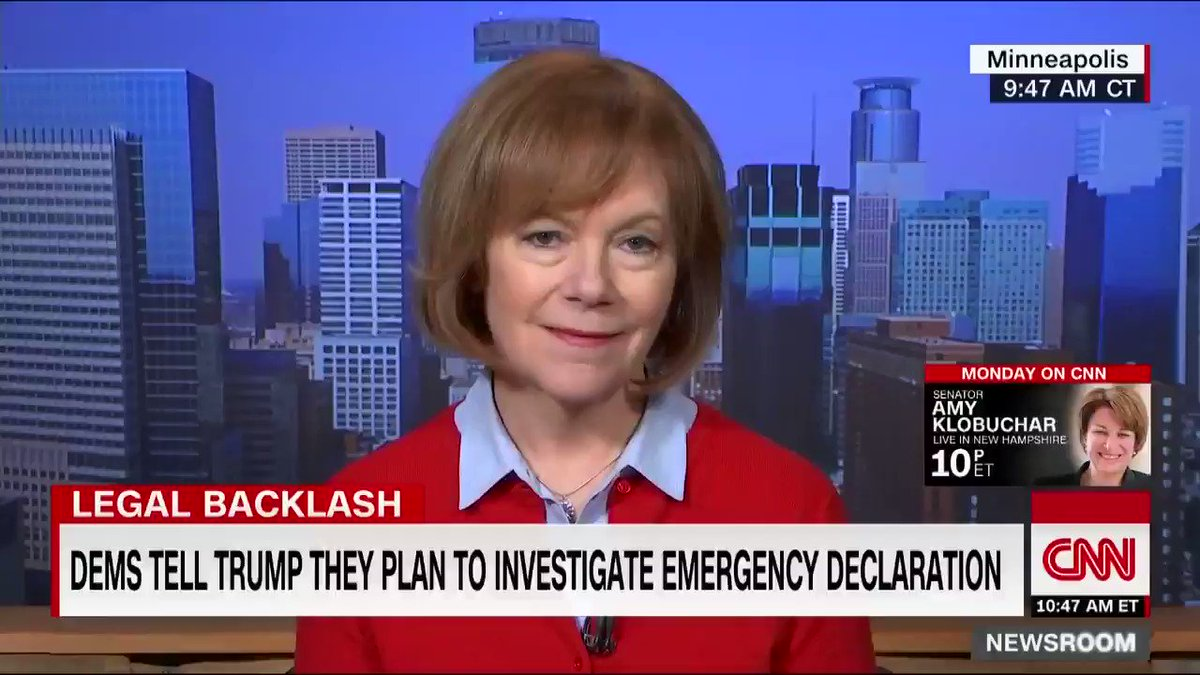 "Democratic Sen. Tina Smith says President Trump's decision to declare a national emergency over the border wall goes ""above the law"" https://cnn.it/2V03nb9"
