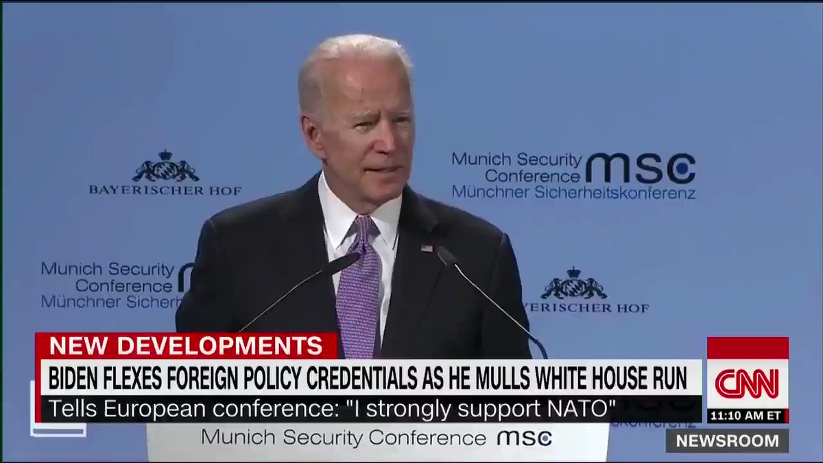 "Former Vice President Joe Biden, while speaking in Munich, Germany, says he ""strongly"" supports NATO: ""I believe it is the single most significant military alliance in the history of the world"" https://cnn.it/2V0vc39"
