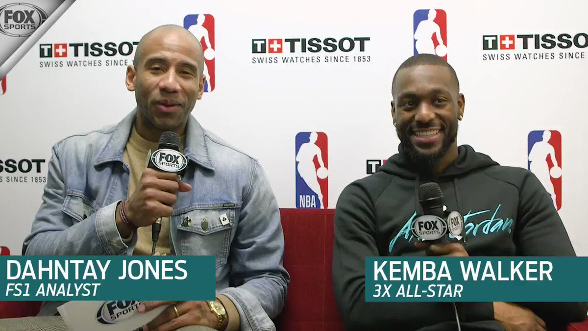 """""""He told me to play the way he drafted me to play... Broke me out of my shell.""""  @hornets All-Star @KembaWalker recounts his favorite Michael Jordan story with @dahntay1."""