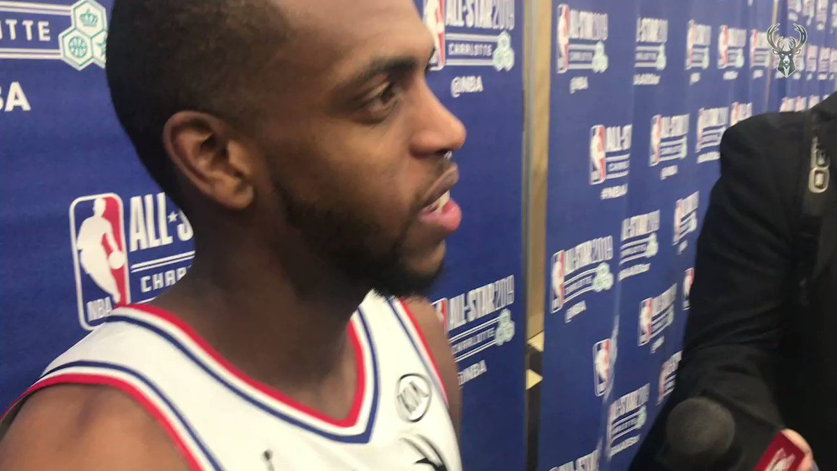 """""""Six years in the making right there...to be on the same court as my guy tonight, it's a special moment.""""  #KhrisMiddleton on playing with #Giannis at #NBAAllStar:"""