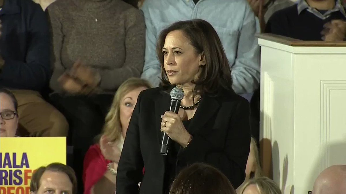 "Sen. Kamala Harris campaigns for the 2020 Democratic presidential nomination in Portsmouth, NH: ""It is not justice in a country that values civil society that we do not pass gun safety laws because of fear of lobbyists."""