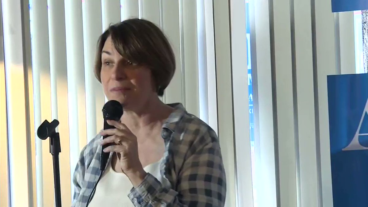 "Sen. Amy Klobuchar speaks to voters in Goffstown, New Hampshire: ""I feel very strongly that people who are addicted should get treatment and that included my own dad."""