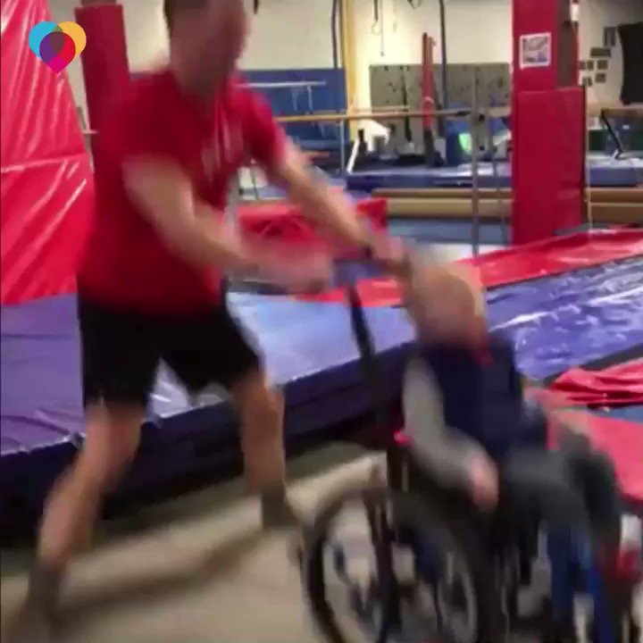 WATCH: This 4-year-old boy born with spina bifida is unable to walk, but on the trampoline at his gymnastics facility — he can jump just like other kids. https://cbsn.ws/2C4dQgg