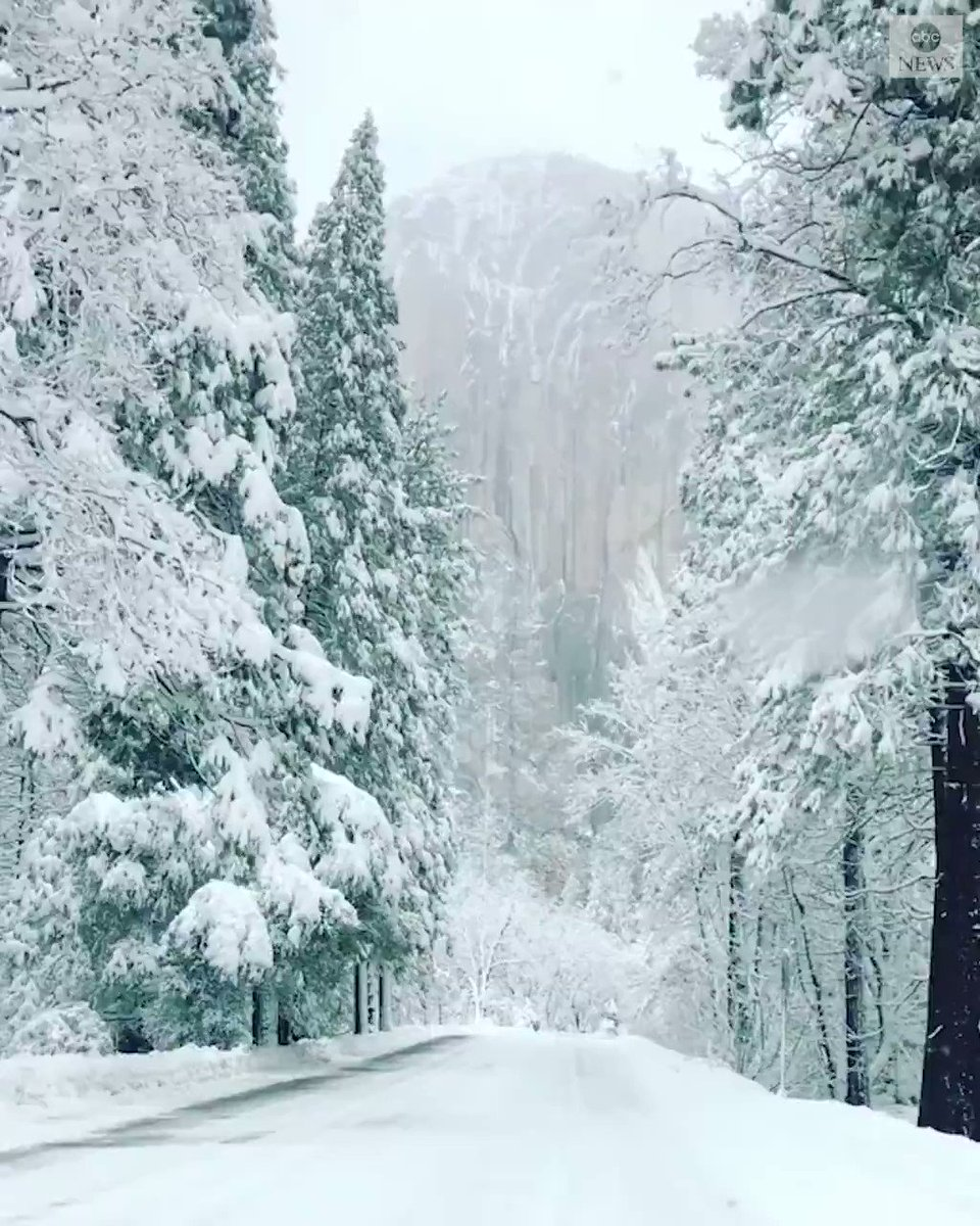 Yosemite might be a little harder to get to this time of year, but for this view of a snow-covered El Capitan, it's worth the drive. https://abcn.ws/2SJPNvL