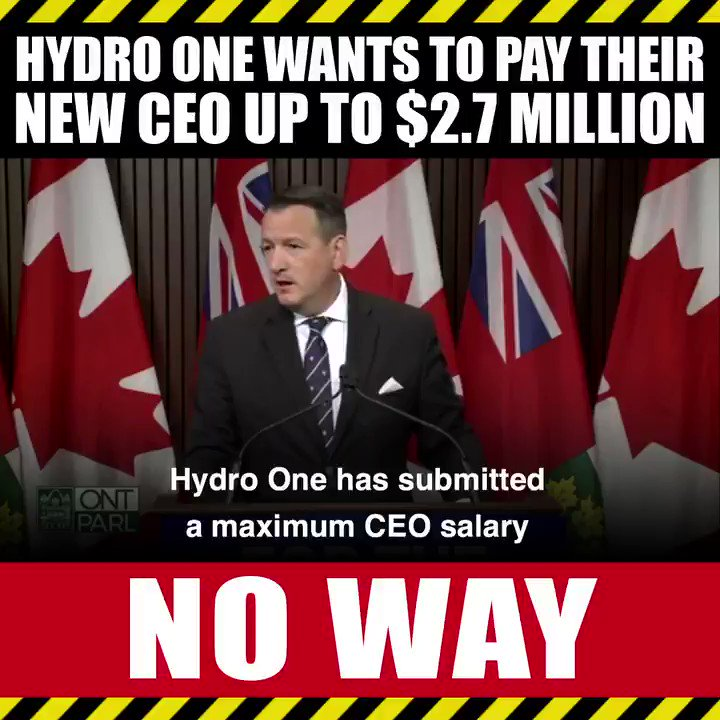 There's no way @FordNation will let the new CEO of Hydro One be paid $2.7 million. https://t.co/EPp5CNmtKM