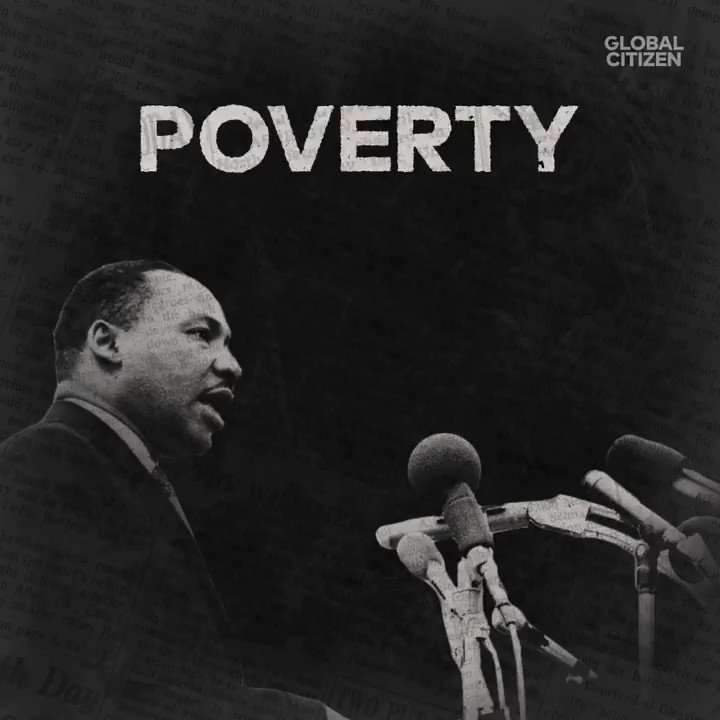 """Dr. King urged all nations to work together to wipe out poverty: """"Just as nonviolence exposed the ugliness of racial injustice, so must the infection and sickness of poverty be exposed and healed."""" #BlackHistoryMonth"""