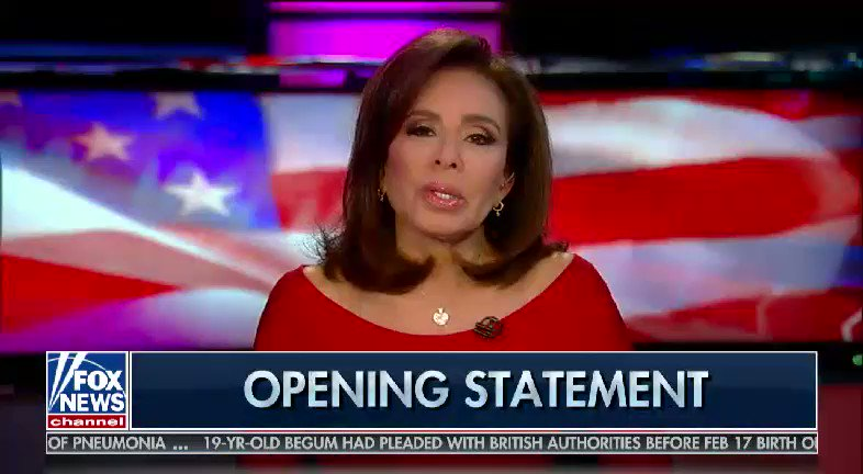 WATCH & RETWEET Stand in support of Judge Jeanine  Everyone should copy this video & tweet it out yourself.   DO IT NOW!  @JudgeJeanine @FoxNews @realDonaldTrump