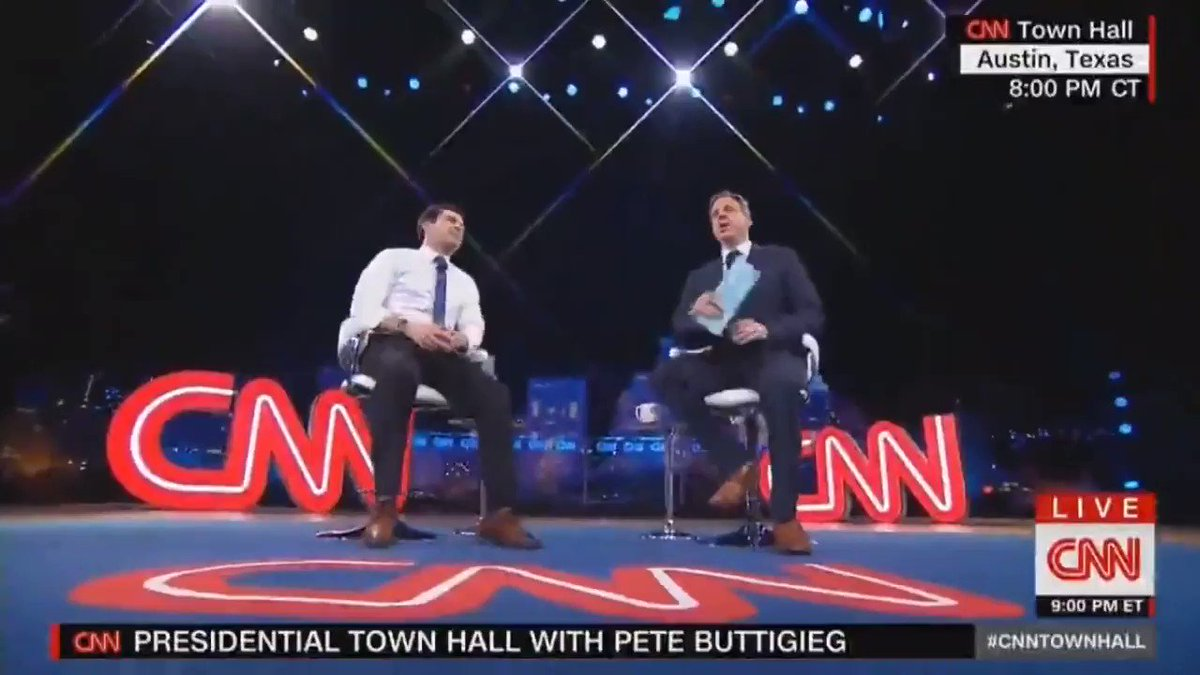 This moment during the @PeteButtigieg town hall with @jaketapper made me emotional. A discussion of something silly like the spousal bickering of a same-sex couple treated normally is something I wish I had as a kid. We don't want special rights. We want what everyone else has