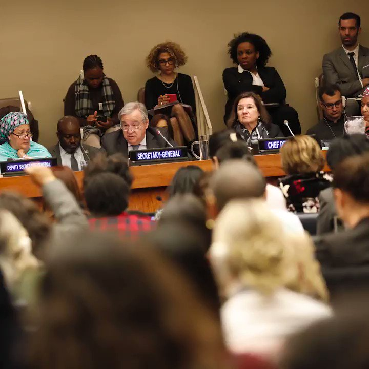 """""""That is why you have to push back against the pushbacks - because people do not like to see power being taken."""" -- @antonioguterres speaking to gender equality activists at #CSW63. http://unwomen.org/en/csw #GlobalGoals"""