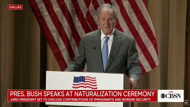"""""""Amid all the complications of policy, may we never forget that immigration is a blessing and a strength,"""" Bush says at naturalization ceremony. http://cbsn.ws/2F5Mg16"""
