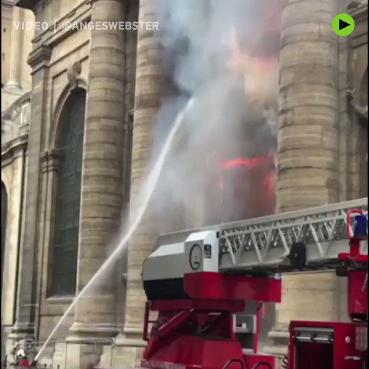Massive fire strikes 17th-century Church of Saint-Sulpice in #Paris. The city's second largest church after Notre-Dame. https://on.rt.com/9qcq