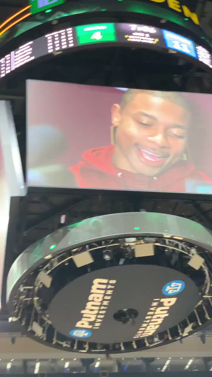 .@IsaiahThomas finally gets his tribute video in Boston, and the fans get to show him the love they still feel for him there. Great job @Celtics. ☘️🏀💚