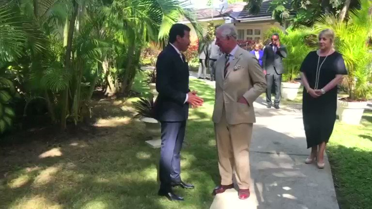 Britain's Prince Charles meets Lionel Richie in Barbados, as the singer was named global ambassador of the Prince's Trust International
