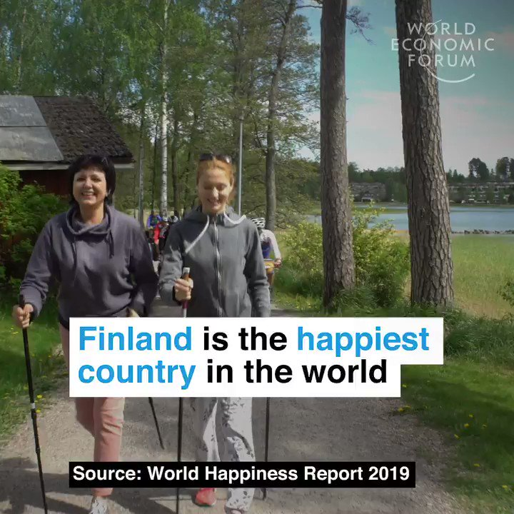 Happiest countries in the world: 1. Finland 🇫🇮 2. Denmark 🇩🇰 3. Norway 🇳🇴 4. Iceland 🇮🇸 5. Netherlands 🇳🇱 6. Switzerland 🇨🇭 7. Sweden 🇸🇪 8. New Zealand 🇳🇿 9. Canada 🇨🇦 10. Austria 🇦🇹 11. Australia 🇦🇺 12. Costa Rica 🇨🇷 13. Israel 🇮🇱 wef.ch/2ulOGUB