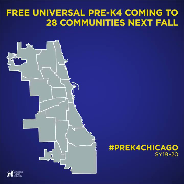 #ICYMI 28 communities, nearly all on the south and west sides, will have access to free, full-day Pre-K! #Prek4Chicago