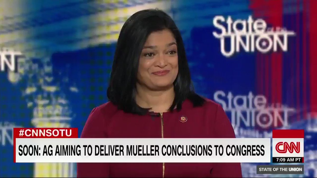 """To say there's no collusion when we haven't seen the report…I think is disingenuous. We need to look at everything, not just the summary conclusions, but everything underneath,"" Democrat @RepJayapal says about the Mueller report. #CNNSOTU http://cnn.it/2HAkGNf"