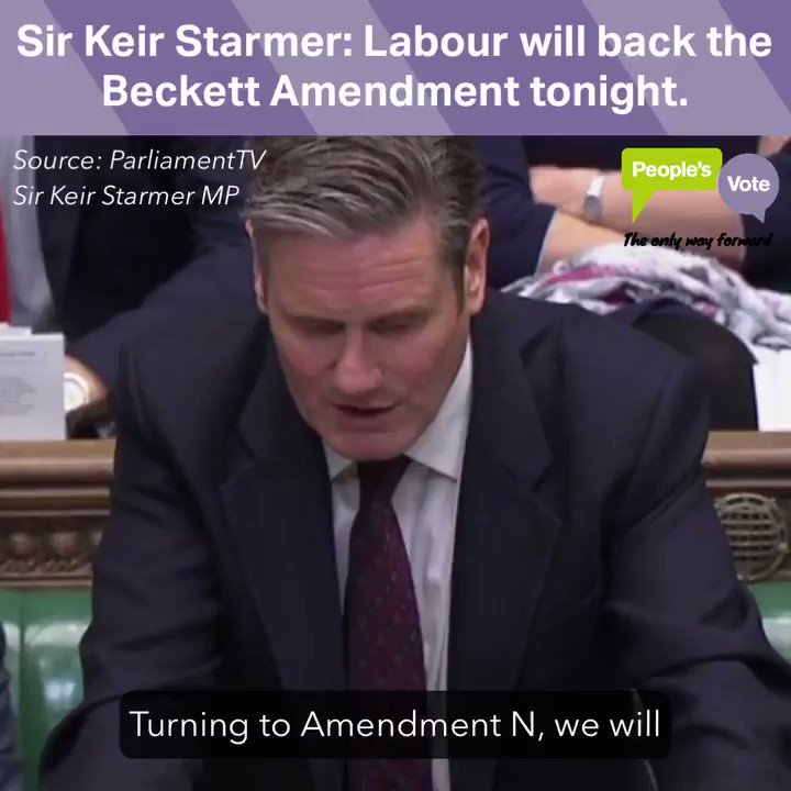 WATCH: @Keir_Starmer makes it absolutely clear that Labour will back Margaret Beckett's amendment this evening, backing a #PeoplesVote on any Brexit deal. Please RT: