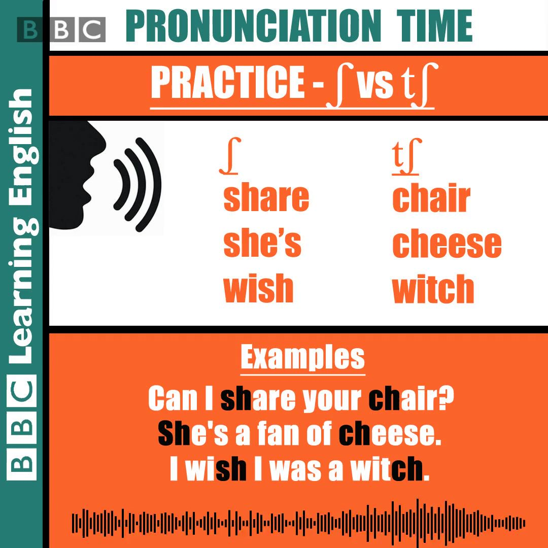 Image for the Tweet beginning: #pronunciation practice - /ʃ /and