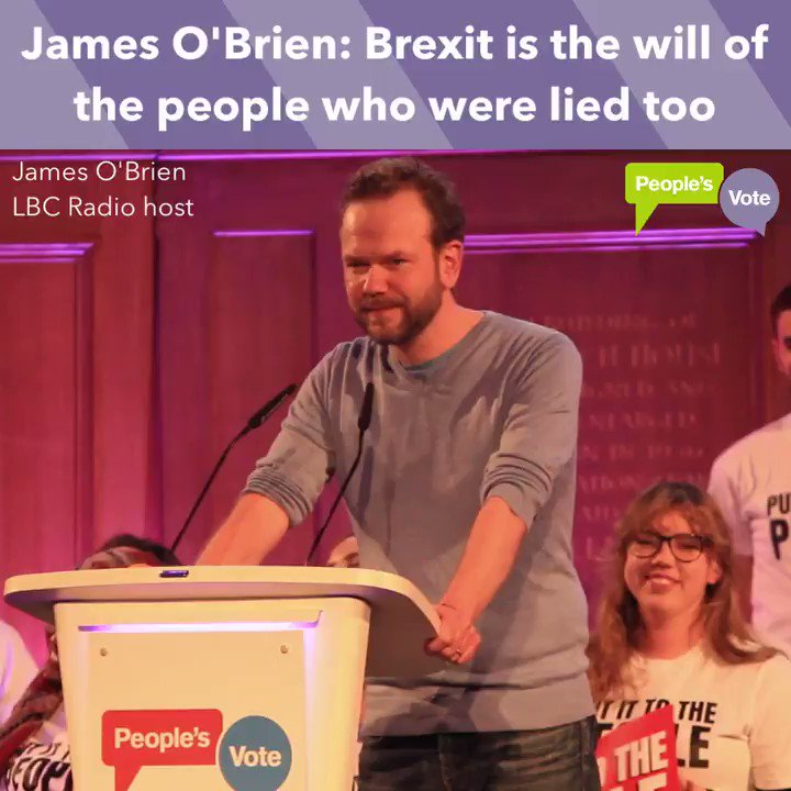 """Brexit is the will of the people who were lied too.""  WATCH: @mrjamesob brilliant speech at the #PeoplesVote rally today - please RT:"