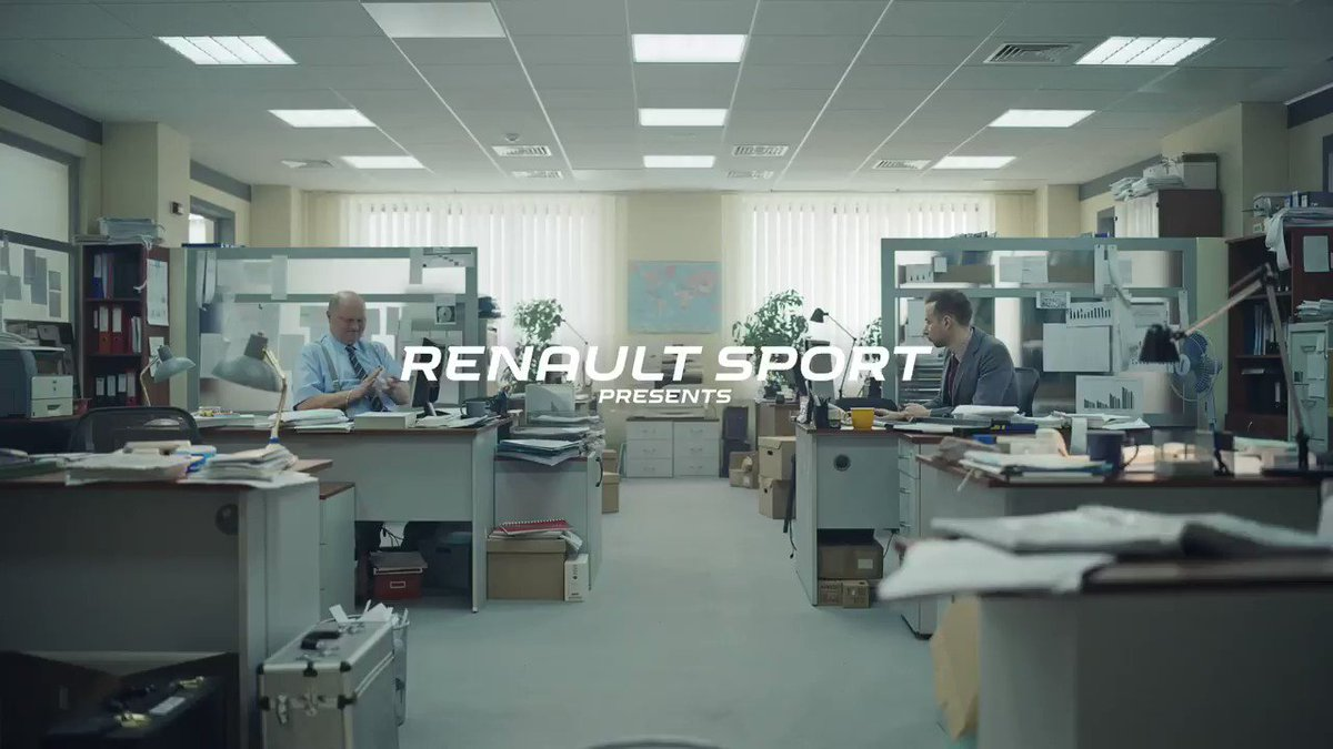 Stuck in an office? No problem. When you love racing, you find competition everywhere. And when @HulkHulkenberg and @danielricciardo get involved... Epic! The #RSspirit never stops.