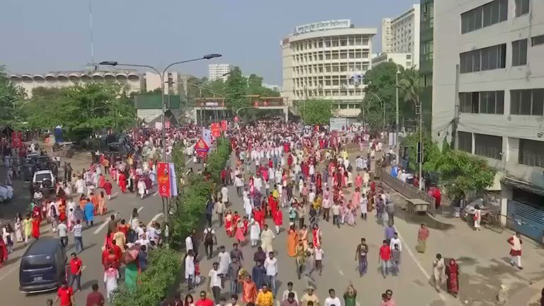 Bangladeshis take to the streets to celebrate the first day of the Bengali New Year