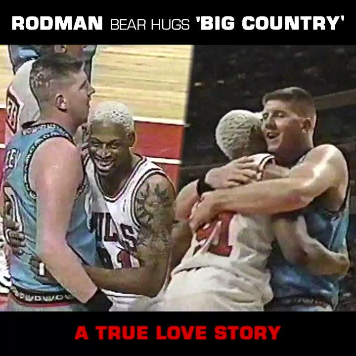 "Happy #NationalHuggingDay 🎉Dennis Rodman ""Bear Hugs"" Big Country Bryant Reeves!@dennisrodman x @reeves_bryant a true love story ❤️"
