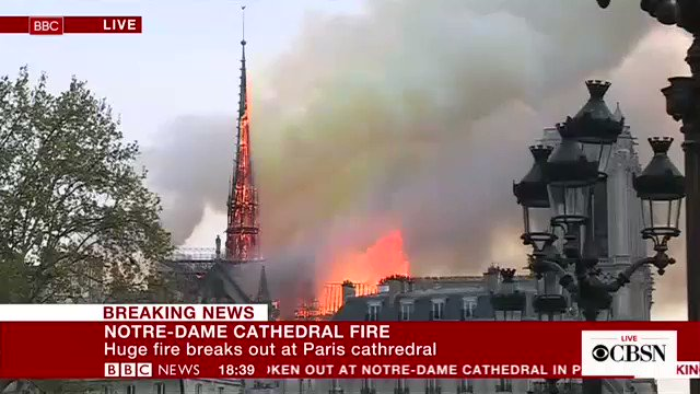 DEVELOPING: Paris' Notre Dame Cathedral is on fire, with roof and spire of the nearly 900-year-old cathedral engulfed in flames https://cbsn.ws/2UYj4mY