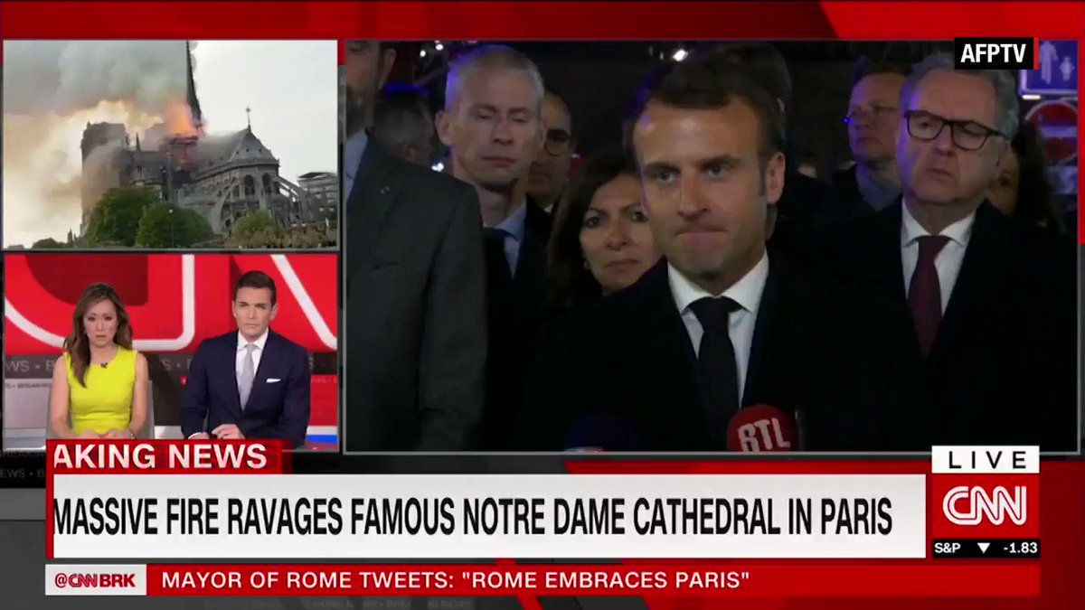 """French President Emmanuel Macron announced that, starting tomorrow, he will launch an international fundraising campaign for the Notre Dame cathedral. """"We will rebuild this cathedral together."""" https://cnn.it/2UkKcb8"""