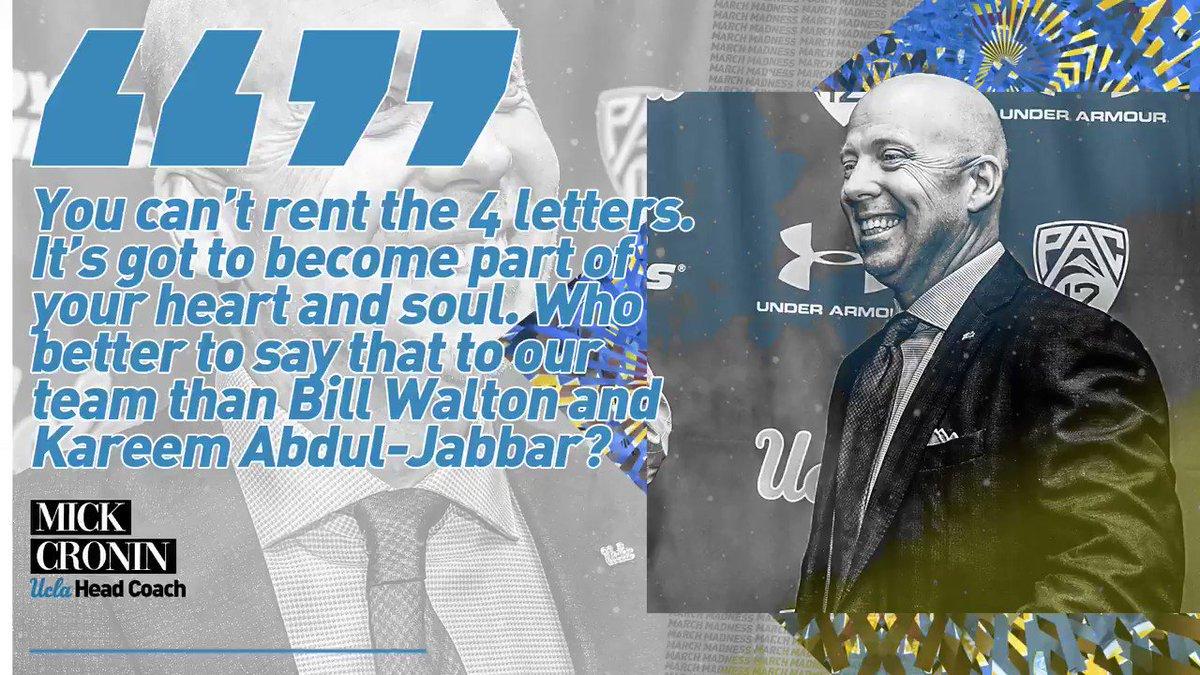 New @UCLAMBB Head Coach Mick Cronin wants his players to truly love the program. (cc: @BillWalton, @kaj33)  New March Madness 365 podcast with @TheAndyKatz: 👉 http://apple.co/2oMjU4B