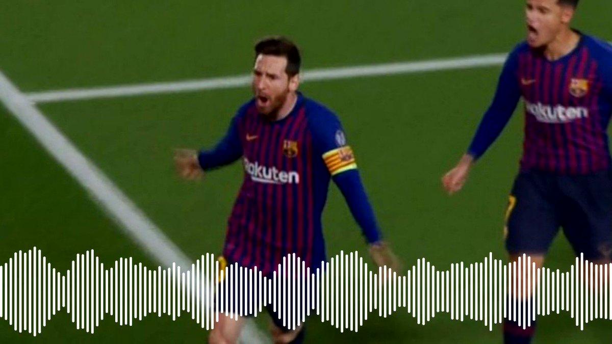 """#UCL """"Messi, el hombre que está por encima del bien y del VAR""""  La última vez que marcó en cuartos de final fue en 2013 contra el PSG, fue en París. La última vez que marcó en casa en UCL fue precisamente en Martes Santo, en el 3-1 contra el Milán  Lo narra @LluisFlaquer"""