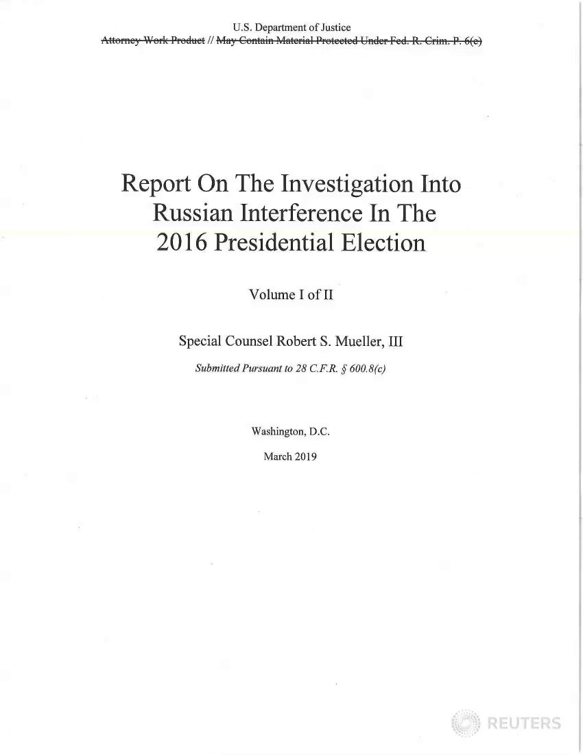 See the redacted version of the Mueller report, which details possible Trump obstruction https://reut.rs/2XuXkgb Follow updates here: https://reut.rs/2XhrRxM