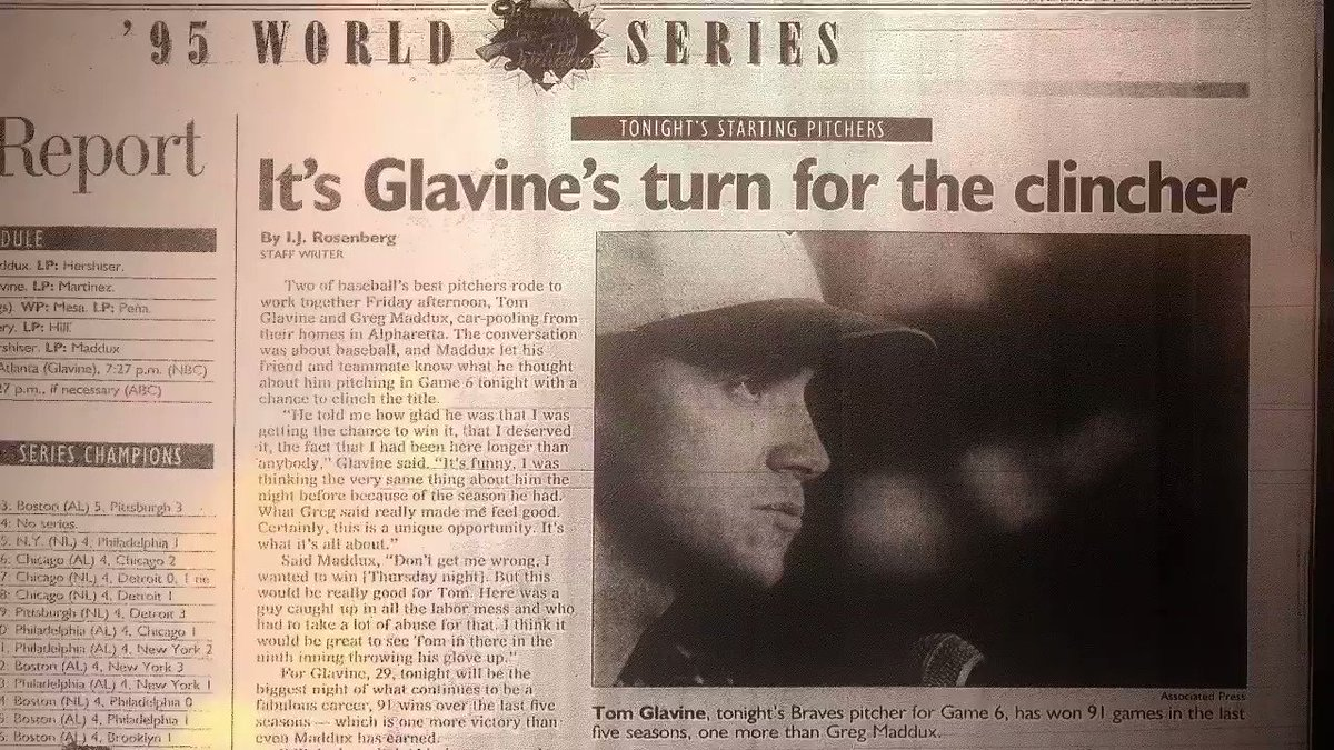 The defining game of @Tom_Glavine's Hall of Fame career? #FlashbackFriday to when the lefty brought @Braves a World Series title.  @MizunoBsballNA | #ReachBeyond