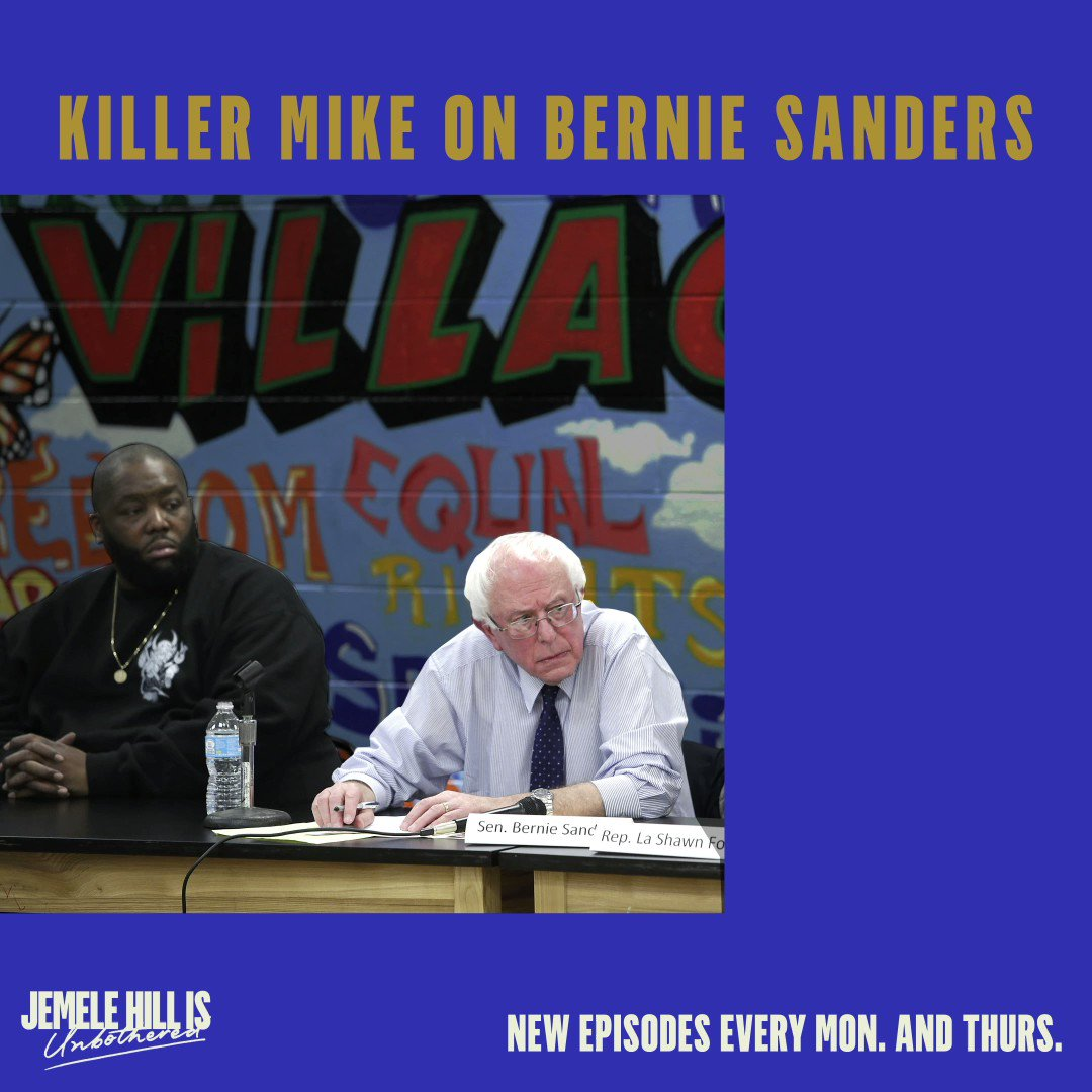 Special guest @KillerMike is giving @BernieSanders all the props on the new episode of the @JemeleHill Is Unbothered podcast. Tune in ➡️ https://spoti.fi/2IQ48AX