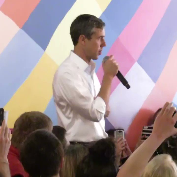 WATCH: While campaigning, Beto O'Rourke hands his microphone to a woman who interrupts him to fact-check him on accepting fossil fuel-related donations; he then addresses her concerns, and discusses how he sees people who work in the fossil fuels industry.