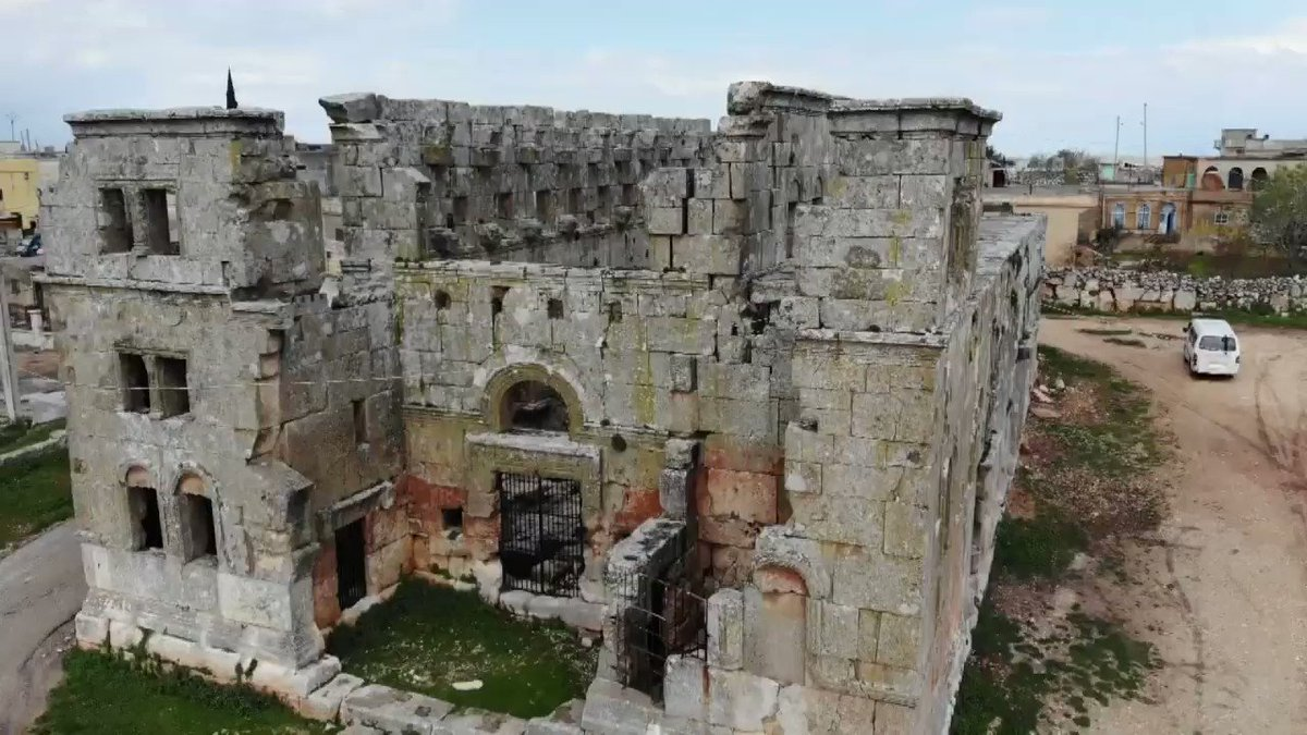 Wow. #Syria's Qalb Lozeh, a 5th century church in #Idlib, is the source of inspiration for Europe's Romanesque and Gothic Cathedrals, including #NotreDame.  This treasure is under threat today by Earth's largest Al-Qaeda franchise—protected by the US & EU.