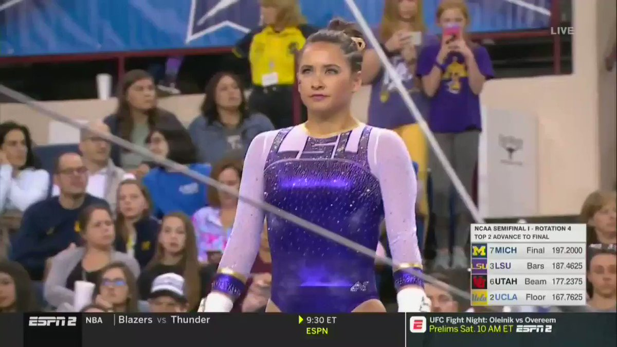 National. Champion. Bars.  @sfinnegan37 takes home her second bars national championship with a 9.95!