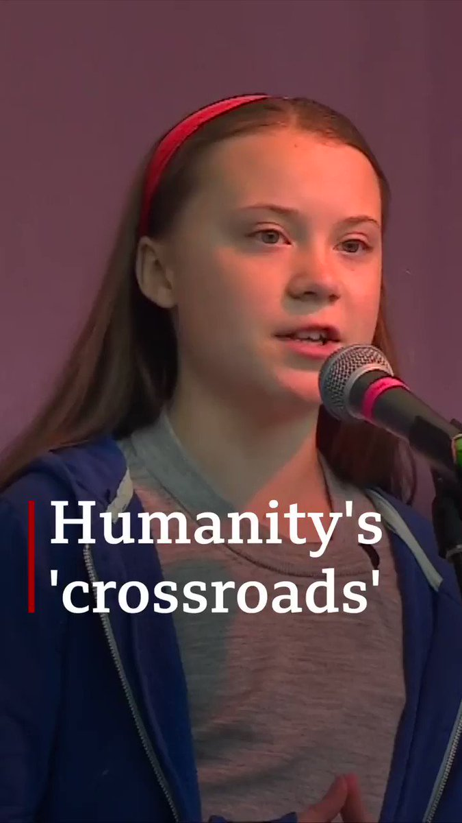"""We are now standing at a crossroads. We must decide what path we want to take""  Greta Thunberg, the 16-year-old Swedish activist, addresses the Extinction Rebellion protest in London"